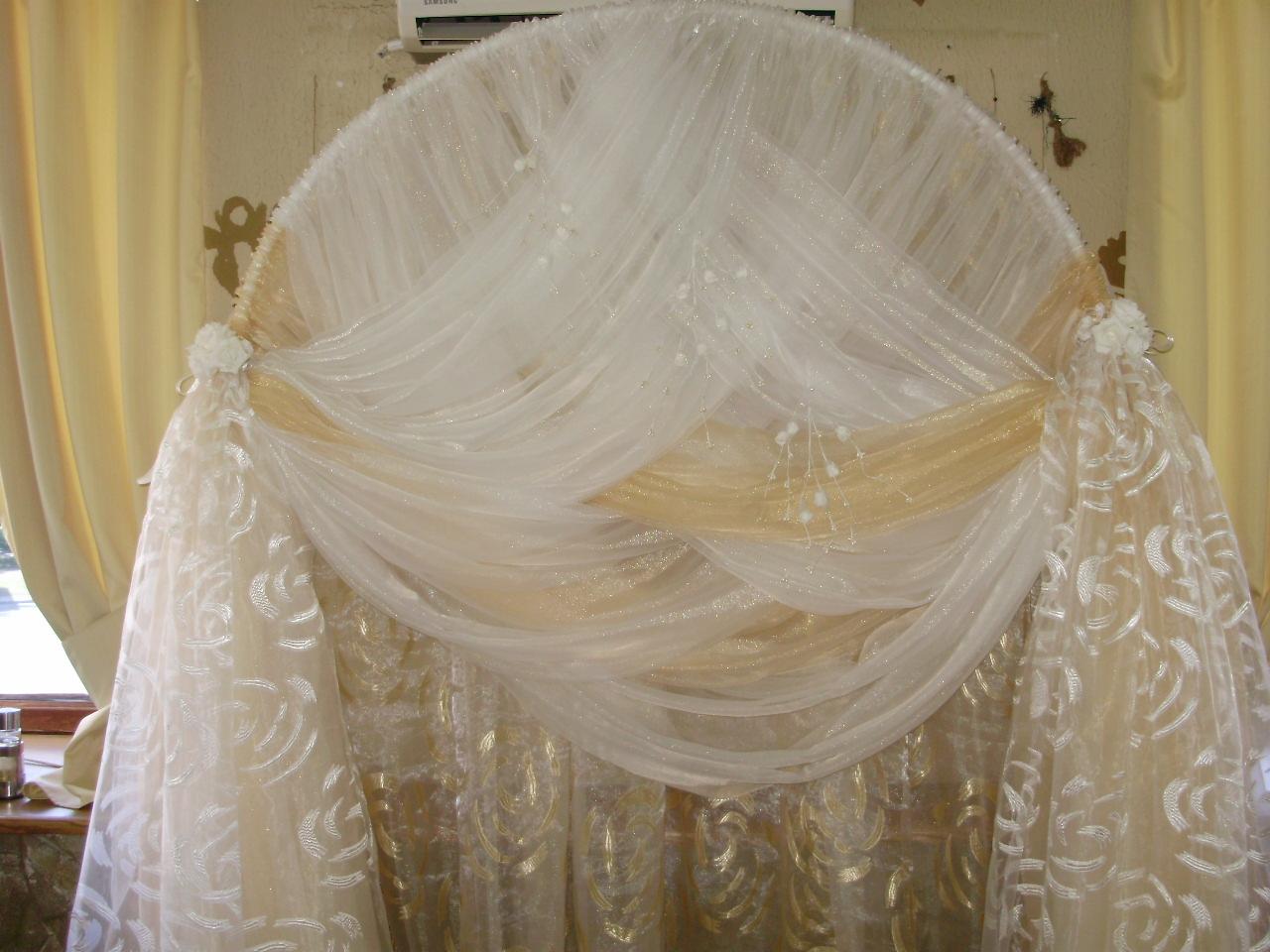 Фото украшение арки тканями